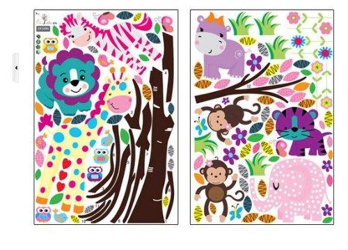 Huge jungle monkey tree wall decor decal baby girl nursery wall sticker art jungle animals lion zebra hippo owls monkeys elephant