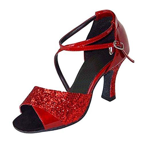 Alti Fondo Salsa da Rosso Latino Morbido S Scarpe Scarpe Sociale Ballo GUOSHIJITUAN Ballo Tacchi Coperta Paillettes Sandalo Donna da gvHw0PR