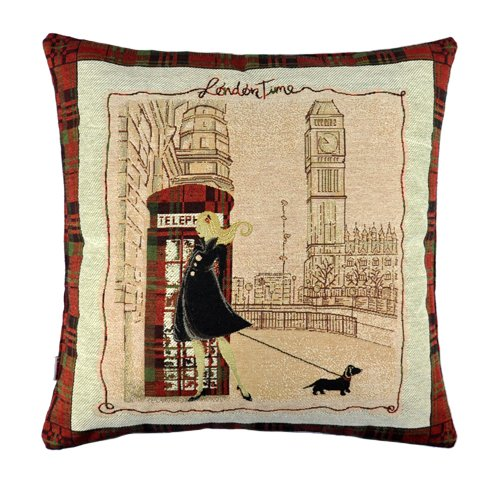 Nava Vintage London Big Ben Lady Telephone Booth Decorative Pillow Case Cushion Cover