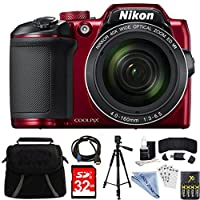 Nikon COOLPIX B500 RED 16MP 40x Optical Zoom Digital Camera 32GB Bundle includes Camera, Bag, 32GB Memory Card, Reader, Wallet, AA Batteries + Charger, HDMI Cable, Tripod, Linen zone Cloth and More from LINEN ZONE