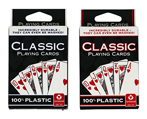 Cartamundi 100% Plastic Classic Playing Cards - 2 Pack - 1 Blue, 1 Red Deck