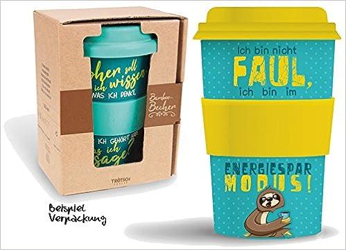 Bamboo Becher to go Ich bin nicht FAUL ... Faultier 400 ml für Kaffee/Tee: aus Bambus mit Silikondeckel und -halter in Geschenkverpackung