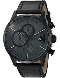 Men's 'Sport' Quartz Stainless Steel and Leather Dress Watch, Color:Black (Model: 10031268)