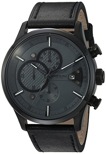 Kenneth Cole New York Men's 'Sport' Quartz Stainless Steel and Leather Dress Watch, Color:Black (Model: 10031268)