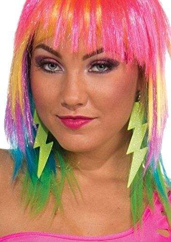 Neon Green Lightning Bolt Earrings ()