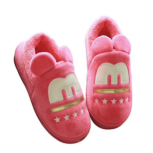 Hevinle Cute Matching Couples Indoor Warm House Slippers for Women Men Red vHw1JB6Yg