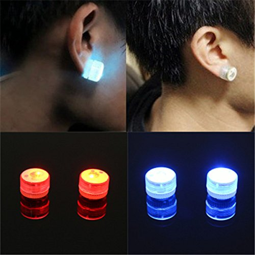 LED Magnetic Flashing Light Up Bling Ear Studs Dance Party Earrings No Piercing by BinStore -