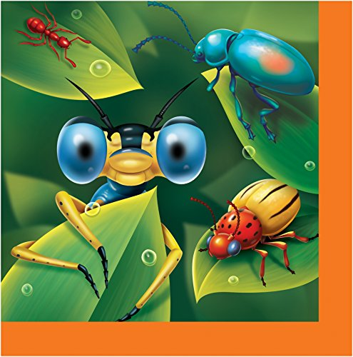 Creative Converting 16 Count Bug-Eyed Lunch Napkins, - Bug Lunch