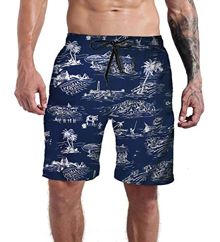 Funny Animal Swim Trunks Men Long Surf Graphic Board Shorts Vacation Club Beach Swimwear Elastic Waist Summer Bathing Suits L (Best Summer Bathing Suits)