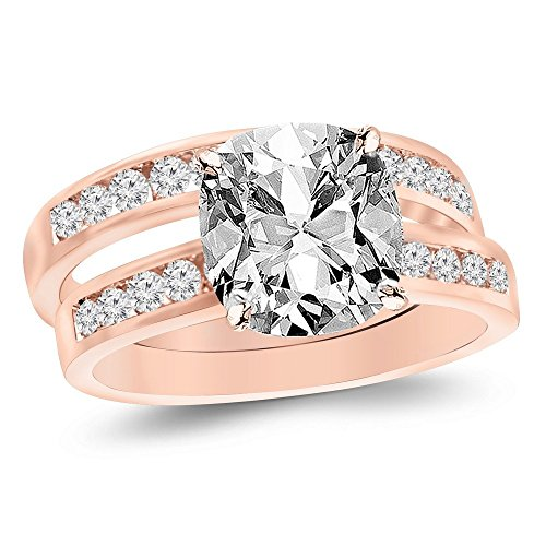 14K Rose Gold 1.21 CTW Classic Channel Set Wedding Set Bridal Band & Diamond Engagement Ring w/ 0.51 Ct GIA Certified Cushion Cut I Color VS1 Clarity Center