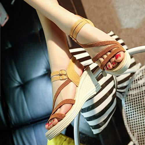 Shopping Selvaggio Casuale Vacanza Giro Fibbia Con Da Roma Brown Estive Sandali Bazhahei Elegant Tacco Alto scarpe Zeppa Per Spiaggia Donna 35 41 wUaSTP7q