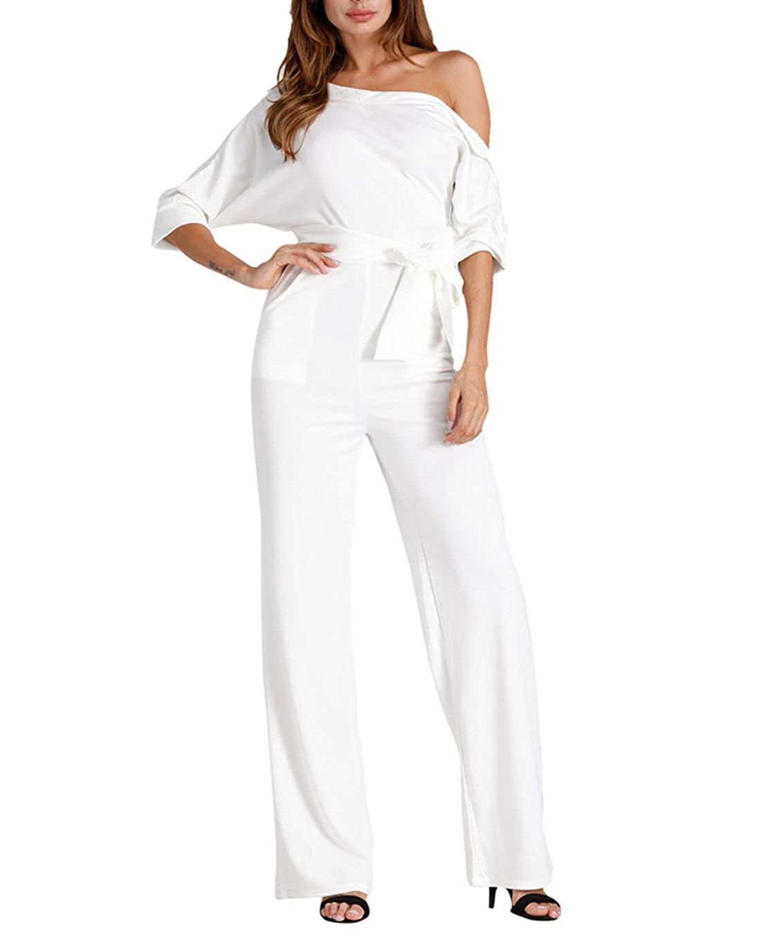 895c7a4ae1d0 Amazon.com  Solid Slanted One Shoulder Jumpsuits -Milliwin Women Sexy Wide  Leg Long Romper Pants Formal White M  Clothing