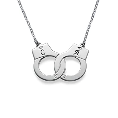 Amazon handcuff necklace in silver custom made with any handcuff necklace in silver custom made with any initial 14 inches aloadofball Image collections