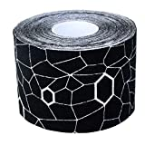 TheraBand Kinesiology Tape, Waterproof Physio Tape for Pain Relief, Muscle & Joint Support, Standard Roll with XactStretch Application Indicators, 2 Inch x 16.4 Foot Roll, Black/White - 12744