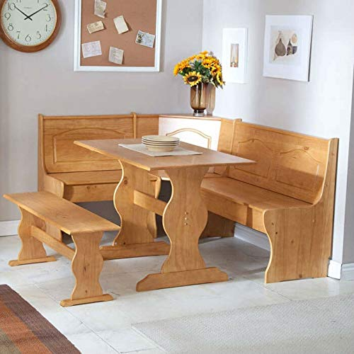 Swag Pads Reversible 3-Piece Corner Dining Set Light Honey Natural Wood Finish