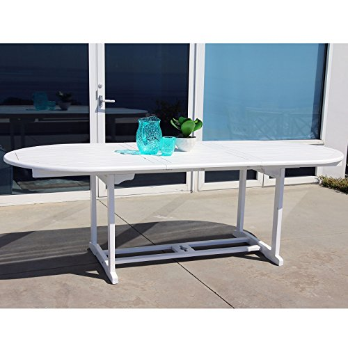Vifah V1335 Bradley Outdoor Wood Oval Extension Dining Table