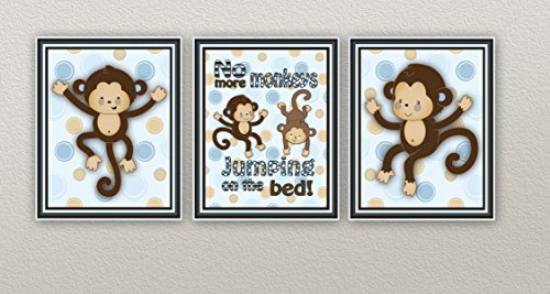Monkey Nursery Art Prints in Blue and Brown (8