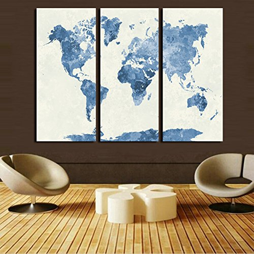 Watercolor Fine Art World Map -Home and Office Decoration - Canvas Art Home Decor Map of World Painting Unframed (Gray)