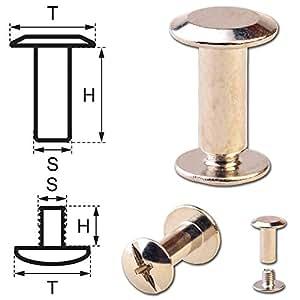 100Borne ubnieten Cinturón libro de tornillos Tornillos Tornillos de chicagos Remaches para tornillos 10mm de níquel brillante