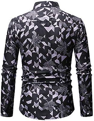 InChengGouFouX Camisas de Vestir para Hombres Hombres Floral De Paisley De Algodón Delgado Imprimir Propiedad De Estilo De Manga Larga Botón De La Camisa Ocasional Camisa de Manga Larga con Botones: Amazon.es: