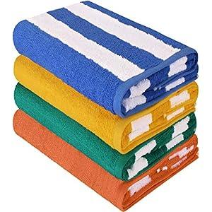 Utopia Towels - 4 Telo mare, Asciugamani da spiaggia, motivo a righe - 100% cotone (76 x 152 cm, Varieta) 1 spesavip
