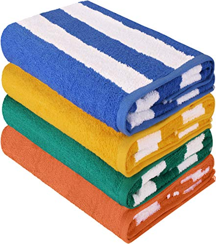 Utopia Towels Cabana Stripe Beach Towels (4 Pack, 30 x 60 Inches) - Large Pool Towels, Variety Pack