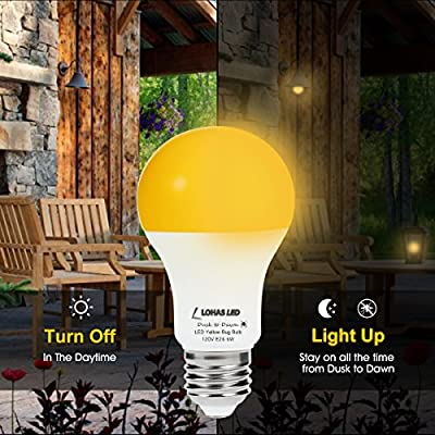 LOHAS LED Dusk to Dawn Sensor Light Bulb, 40W Equivalent A19 Yellow LED Bulbs 2000K, E26 Base, Auto on/off, 500 Lumens, Non-Dimmable