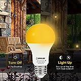 LOHAS Amber Light Sensor Dusk to Dawn LED Bulbs, Bug Light Bulb Yellow LED A19, Porch Lights Security Outdoor, Smart Sensor Lighting 2000K, 40W Amber LED Auto on/off, Bugs Free E26, 500 Lumens(4PACK)