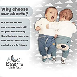 Bear's Little Fish 2-Pack of Playard Sheets | 100% Hypoallergenic Jersey Cotton | Gender Neutral Grey and White for Baby boy or Girl | Fitted for Pack n Play, Playard and Portable Crib Mattress