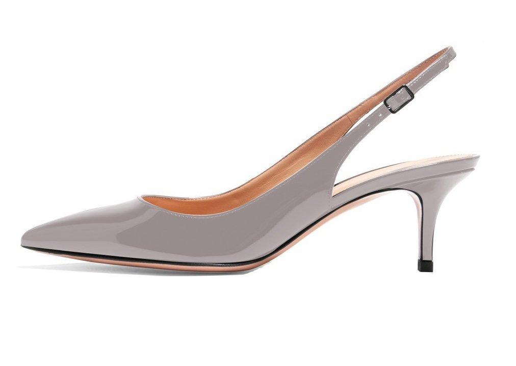 ELASHE - Zapatos de Tacón Clásicos Espigones con Hebillas y Tiras en la Parte Trasera para Mujer 35-45 EU 35 EU|Gris