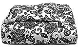Charter Club Damask Designs Black Floral 3 Piece Cotton King Comforter Set Black White