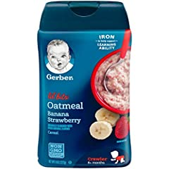 Introduce your older baby to new tastes and textures with Gerber Lil' Bits Oatmeal Banana Strawberry baby cereal. It can be mixed to a spoon-hugging texture and the added textured pieces help babies learn to chew and mash. It has iron to help...