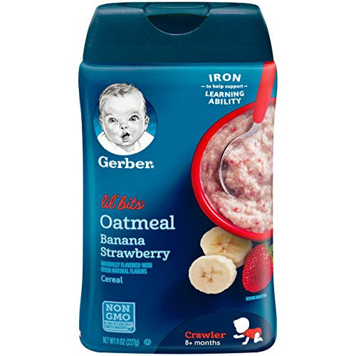 Gerber Lil' Bits Oatmeal Banana Strawberry Baby Cereal, 8 Ounce (Pack of 6)