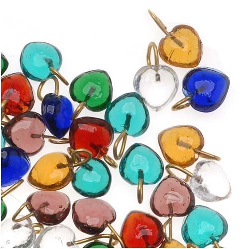 (Tiny Glass Heart Drops In Assorted Colors 7mm (100 Beads))