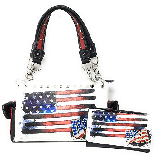 Texas West American Flag Rhinestone Women Leather Concealed Handbags Purse Wallet Set In Multi Color (White)