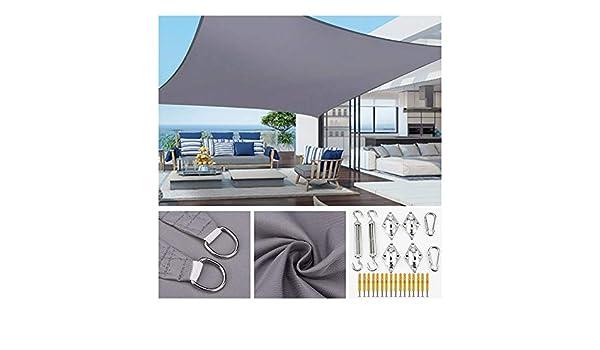 HOXMOMA Rectangular Toldo Vela de Sombra con Kit de Fijación, protección Rayos UV Impermeable para Patio, Exteriores, Jardín, Pérgola, Gris,6×6m/19.7x19.7: Amazon.es: Hogar