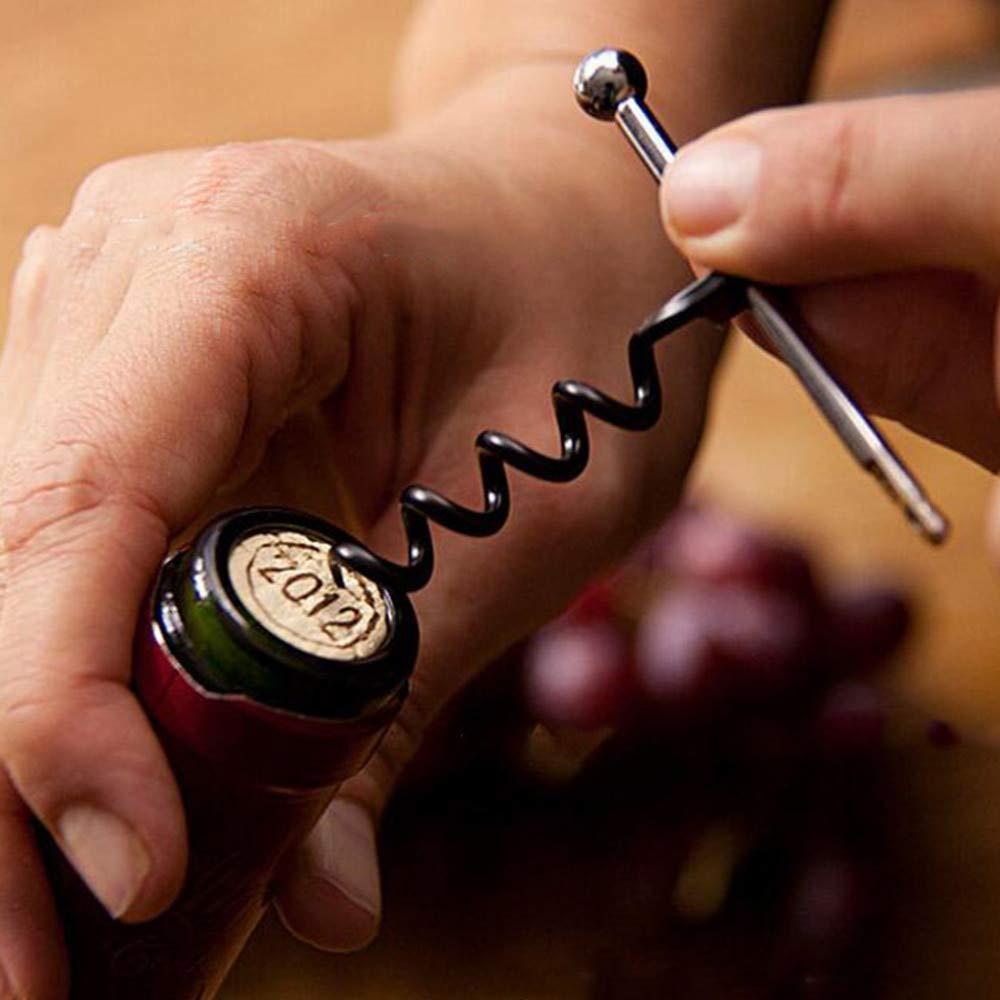 UU19EE Abrebotellas port/átil Multifuncional de Dos usos para la Cerveza del Vino con el Llavero del Anillo sacacorchos Rojo al Aire Libre del Acero Inoxidable