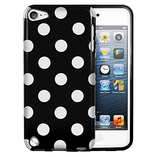 EE Accessories® Silicone TPU Polka Dot Case Skin Cover for iPod Touch 5 5th Generation (Black) (Polka Ipod Dot 5 Touch)