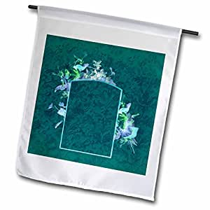 Jaclinart Floral Garden Vintage Damask - Blue and green floral arrangement design on a dark teal damask background - 18 x 27 inch Garden Flag (fl_54053_2)