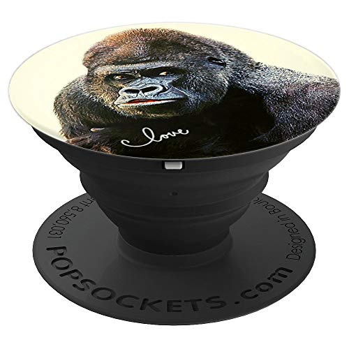 Pop Socket Cute Gorilla Siverback Wild Monkey Love - PopSockets Grip and Stand for Phones and Tablets ()