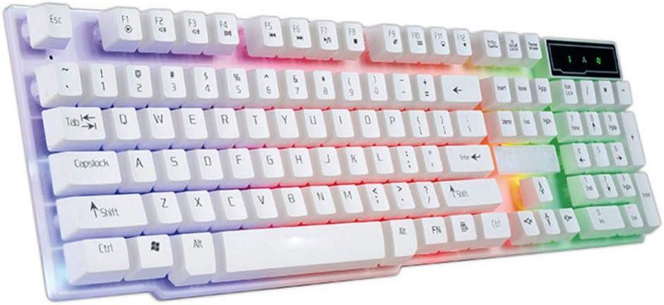 BHGFCGYUH Waterproof Backlight Effect Colorful Crack LED Illuminated Backlit USB Wired PC Rainbow Gaming Keyboard