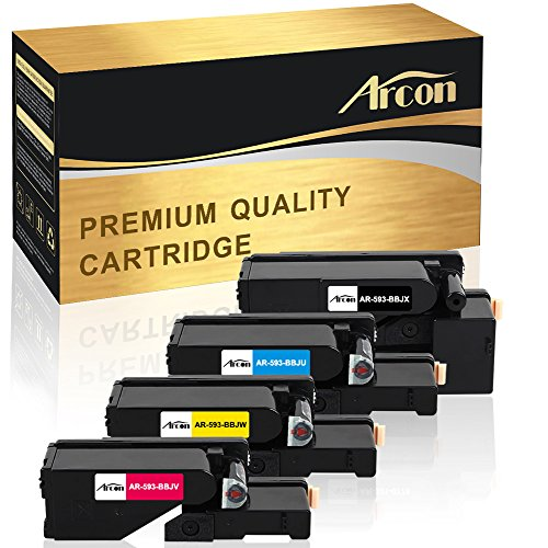 Arcon 4 Packs [Black Cyan Yellow Magenta] Compatible E525w Toner Cartridge for Dell E525w Toner, Dell E525w, Dell E525, Dell E525w Color Printer Ink Toner (Dell Magenta Toner)