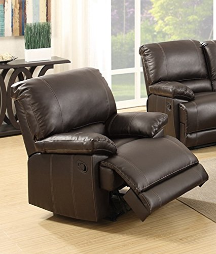 Poundex Mirella Brown Bonded Leather Rocker Recliner
