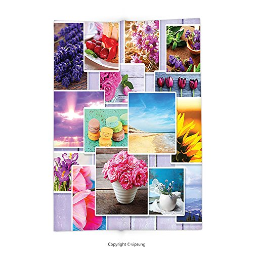 Custom printed Throw Blanket with Colorful Collage of Different Photos on Wooden Background Flowers Macaroons Pastries Beach Multicolor Super soft and Cozy Fleece (Collage Photo Blankets)