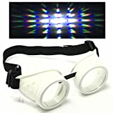 UV Glow in The Dark Steampunk Rave Goggles Prism Diffraction Round Retro Glasses