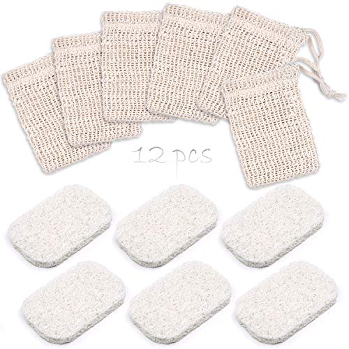 Lanpu 12 PCS Soap Saver Soap Bag for Shower, 6 PCS Soap Saver Sponge Pad, 6 PCS Soap Exfoliating Bag Natural Soap Saver Bag Soap Pouch for Shower