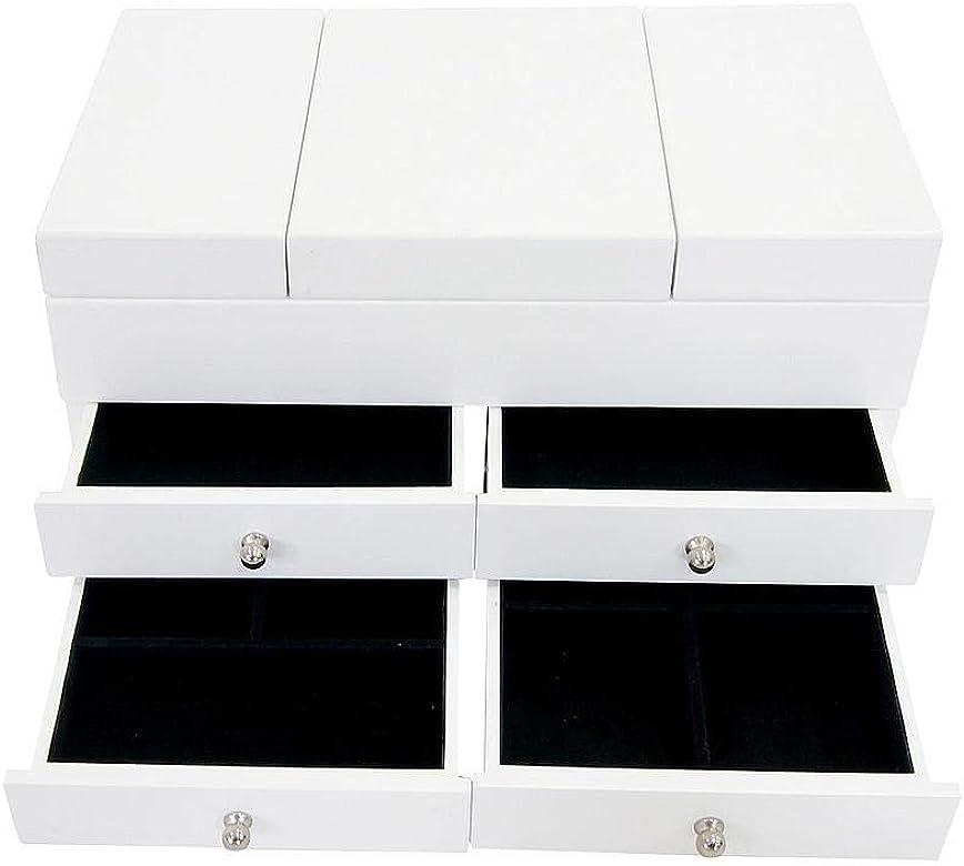 Todeco - Caja para Joyas con Compartimentos, Mueble para Joyas con Cajones - Material: MDF - Numero de Sostenes de ...