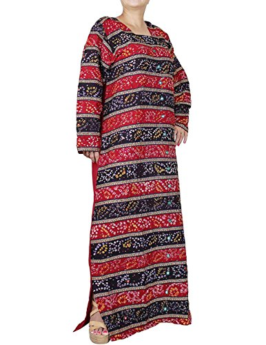 Langes Abendkleid Rot und Schwarz für Frauen Indische Baumwolle Tie Dye Drucken Ricamoperline 132 cm