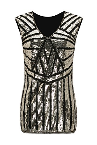 - Metme Vintage 1920s V Neck Slight Loose Flashy Beaded Sequin Vest Tops Tank Tops For Women,Black,Medium