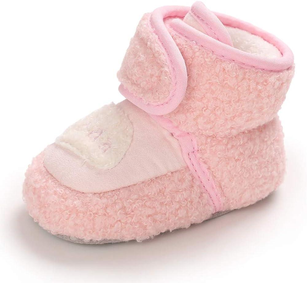MK MATT KEELY Infant Baby Girl Boy Cotton Booties Soft Fleece Booties Grippers Warm Non-Slip Stay On Slippers Newborn